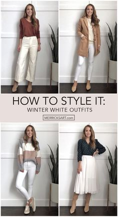 White Pants Outfit, White Outfits, Fall Outfits, Cream Pants, Fall Jackets, Color Block Sweater, White Skirts, Winter White, Autumn Fashion