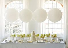 White/green.  Love the balloons as a backdrop for pretty desserts.