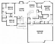Plan No.359351 House Plans by WestHomePlanners.com 1539sqft
