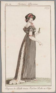 May be for mourning - the apron-dress is described as made from crepe, which was a mourning material. an 12 Costume parisien