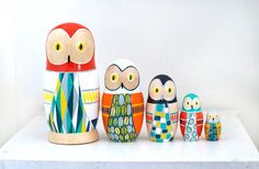 My Owl Barn: Gorgeous Hand Painted Nesting Dolls by Periwinkle Nuthatch