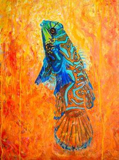 mandarin-dragonet-original-Oil-Painting-30-x40-on-canvas