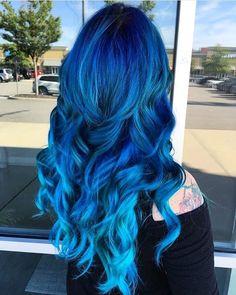 11 Best Blue Ombre Hair Color Ideas (Dark, Light & All Lengths) Bold Hair Color, Cute Hair Colors, Pretty Hair Color, Beautiful Hair Color, Hair Dye Colors, Blue Ombre Hair, Teal Hair, Brown Hair, Coloured Hair