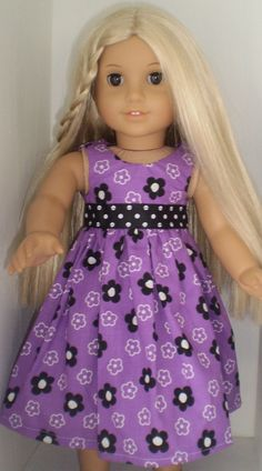 18 doll clothes fit American Girl Purple dress by WolfesClothing7, $8.60