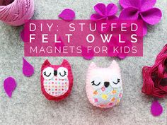 DIY stuffed felt owls magnets