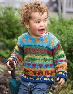 Knitting Pattern for Jungle Sweater - Colorful stranded children's sweater with giraffes, elephants, birds, and more. Sizes 2 and 4 years old. Designed by Cecilie Kaurin and Linn Bryhn Jacobsen. One of the 20 patterns in Creative Colour Knitting. Baby Sweater Knitting Pattern, Fair Isle Knitting Patterns, Baby Boy Knitting, Sweater Knitting Patterns, Knitting For Kids, Free Childrens Knitting Patterns, Creative Knitting, Free Knitting, Crochet Pattern