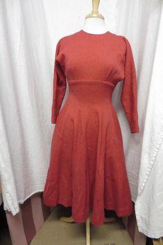 Vintage 1950's Anne Fogarty Swing Dress Pink Red Wool Bombshell Top | eBay