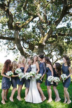 Slate blue bridesmaid dresses by adriannapapell.com | Event Planning + Floral Design: Florabella - florabellastudios.com | Photography: Adriana Klas Photography - www.adrianaklasphotography.com/  Read More: http://www.stylemepretty.com/california-weddings/2014/05/30/elegant-al-fresco-wedding-at-home/