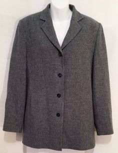 L.L. Bean Plaid Wool Jacket Women's Green Gray Black Lined Made in Turkey sz 14R #LLBean #BasicJacket
