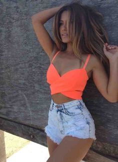-Neon Coral Crop Top & high waist shorts !!! JUST the top for vegas this weekend with black skirt or shorts :)