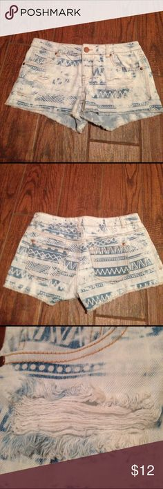 Blue Bleached Ripped Jeans Aztec design bleached and ripped jeans. 99% Cotton 1% Spandex. Machine wash inside out in cold water on gentle cycle. Tumble dry on low. Excellent Condition. Tinseltown Shorts Jean Shorts