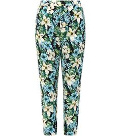 Black Tropical Floral Print Slim Leg Trousers