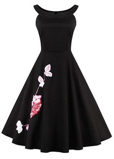 Black Sleeveless Flower Embroidered A Line Dress | lulugal.com - USD $35.84
