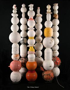 John Dahlsen - brilliant work. Contemporary environmental art sculpture. Totems made from found plastic objects and stainless steel. Abstract recycled art created from pla...