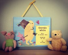 Pooh bear Name Canvas, Canvas Artwork, Wedding Canvas, Pooh Bear, Happy Day, Abstract, Children, Painting, Art On Canvas