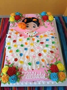 Mexican Dessert Recipes Discover beautiful Mexican girl cake gorgeous lace dress colorful perfect for birthday Cinco de Mayo fiesta theme party Mexican Birthday Parties, Mexican Fiesta Party, Fiesta Theme Party, Birthday Party Themes, Theme Parties, Cake Birthday, Mom Birthday, Mexican Fiesta Dresses, Birthday Sheet Cakes