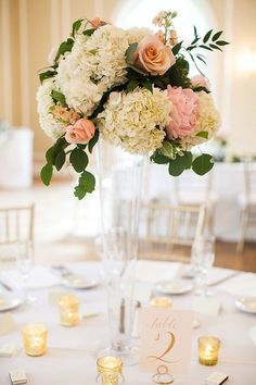 Tall Glass Trumpet Vase Centerpiece with Roses, Greenery and Hydrangea // blush, pink, rose gold, gold, ivory, white, wedding, classic, romantic