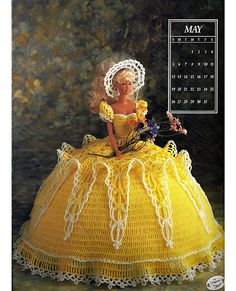 Miss May 1991 Annies Calendar Bed Doll Society  Fashion Doll  Crochet Pattern  Annies Attic 7405.