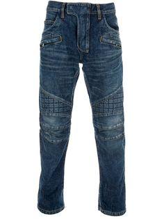 """""""Bleu de Pinto de Bleu""""  Balmain Slim Fit Jeans, quilted panel detailing at the knees, $848."""