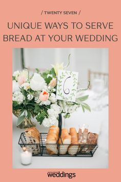 Bread makes for a great wedding appetizer as well as table decor. Your guests will appreciate the pre-dinner snack as well as the unique edible decoration appeal! Summer Wedding Guests, Wedding Reception Food, Wedding Menu, Festive Bread, Wooden Wine Crates, Tulip Wedding, Wedding Appetizers, Food Stations, Herb Butter