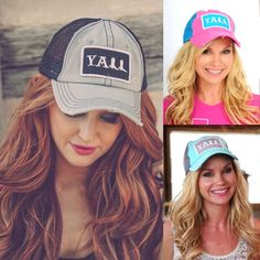 Southern Girl YALL Trucker Hat-Mulitple Colors by Jane Divine Boutique www.janedivine.com