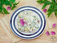 Sałatka ziemniaczana z bobem i sosem jogurtowo-musztardowym - Wędrówki po kuchni Risotto, Potato Salad, Grains, Appetizers, Bob, Potatoes, Rice, Snacks, Ethnic Recipes