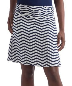 Navy Chevron A-Line Staci Skirt