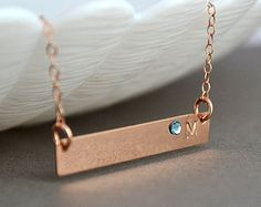 Check out Personalized Bridesmaid Gift, Rose Gold Bar necklace, Personalized Bar Necklace, Bridesmaid Set, Monogram Bar on malizbijoux