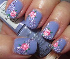 a lovely secret about flowers - Essence pale lilac w/ acrylic paint nail art design