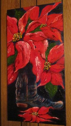 boot with poinsettias on canvas by Texas artist Diane Kraft