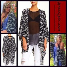"""Kimono Long Cardigan Wrap Cape Wrap Cardi Coat NEW WITH TAGS RETAIL PRICE: $68  Boho Cape Kimono Cardigan  * Relaxed Silhouette  * Beautiful allover striped print.   * Boho'festival feel';Incredibly lightweight for most seasons  * Long wide kimono sleeves (cardigan style)  * Oversized fit; About 30-41"""" long.   Fabric: 100% Rayon Item:122100 Color: Black & White  No Trades ✅ Offers Considered*/Bundle Discounts✅ *Please use the blue 'offer' button to submit an offer. Boutique Sweaters…"""
