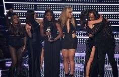Fifth Harmony and @tydollasign on stage at the #VMAs
