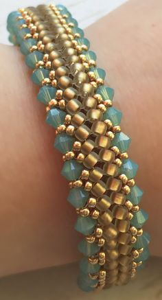 Pacific Opal and Gold Herringbone Stitch Bracelet