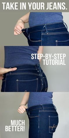 How to Take in a Jeans Waist by @glitterandwit