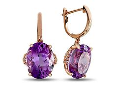 LALI Classics 14kt Rose Gold Amethyst Oval Earrings  . This attractive design is set with 2 stones 7.130 carats total weight, prong set purple oval Amethyst eye clean clarity, 12 stones 0.050 carats total weight, prong set round white Diamond K-L color I3 clarity. This style measures 8.00 mm high, 10.00 mm wide and 21.00 mm long.