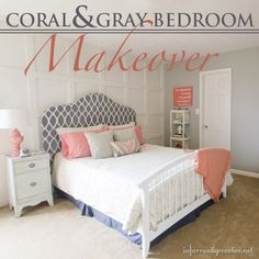 Coral & gray bedroom reveal from @infarrantlycreative.  Note the mismatched headboard and footboard, cool idea