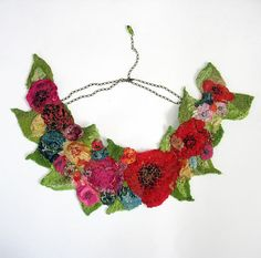 Silk flowers nunofelted textile necklace in vintage style