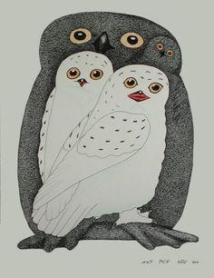 Owls by Inuit artist Kananginak Pootoogook Arte Inuit, Inuit Art, American Indian Art, Native American Art, Owl Art, Bird Art, Nature Sketch, Artist Sketchbook, Canadian Art