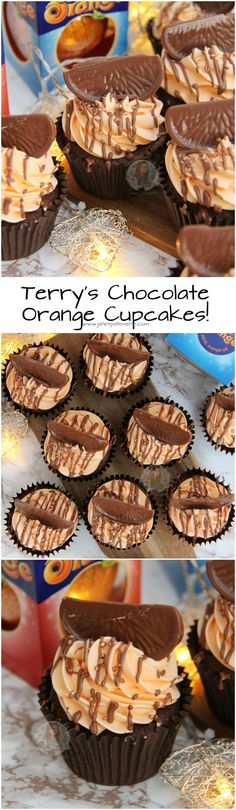 ❤️ Chocolate Cupcakes studded with Chunks of Terry's Chocolate Orange, topped with an Orange Buttercream, and Chocolate Orange slices Baking Cupcakes, Cupcake Recipes, Baking Recipes, Cupcake Cakes, Dessert Recipes, Terry's Chocolate Orange, Janes Patisserie, Orange Cupcakes, Delicious Desserts