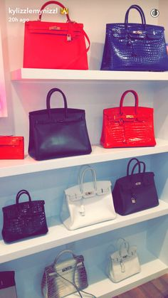 Kylie Jenner shows off her Mum's collection of luxury handbags Kylie Jenner Bags, Trajes Kylie Jenner, Kris Jenner, Luxury Purses, Luxury Bags, Luxury Handbags, Fashion Room, Fashion Bags, Fashion Fashion