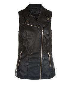Black Leather-Look Biker Gilet  | New Look