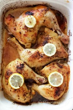 Oven Roasted Chicken Leg Quarters with Italian Herbs & Lemon - Winner winner, chicken dinner! Chicken Leg Quarters Oven, Oven Roasted Chicken Legs, Roasted Chicken Leg Quarters, Lemon Roasted Chicken, Fried Chicken, Stuffed Chicken, Chicken Tenders, Chicken Quarter Recipes, Bone In Chicken Recipes