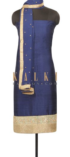 Navy blue straihgt suit with kardana embroidery only on Kalki