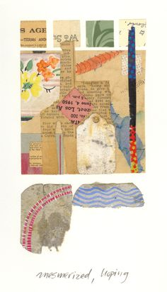 """""""mesmerized, hoping"""" - a mixed media piece in one of my sketch books created from vintage, found papers, and opaque watercolor. Collages, Collage Art, Sketch Books, Mail Art, Mixed Media, Composition, Paintings, Watercolor, Paper"""
