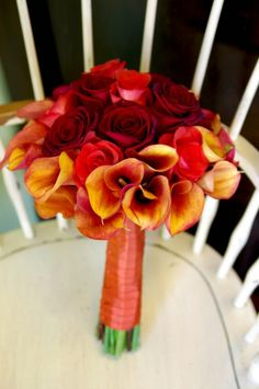 fall rustic wedding decorations | Black Magic and Terracotta Roses, Rust Calla Lilies | Bouquet