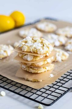 Bursting with bright lemon flavor and loaded with white chocolate chips, these lemon crinkle cookies are the perfect balance of tart and sweet. Lemon Crinkle Cookies, Iced Sugar Cookies, Lemon Cookies, Peanut Butter Cookies, Chip Cookies, Cookie Dough Recipes, Fun Baking Recipes, Best Cookie Recipes, Dessert Recipes