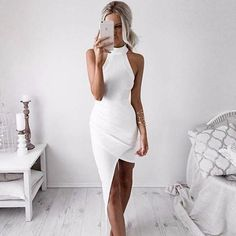 sexy white bodycon dress, sleeveless halter evening party dress - Crystalline