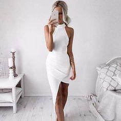 sexy white bodycon dress, sleeveless halter evening party dress - Crystalline