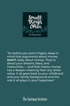 How do you talk about finances in your relationship? On this episode of Small Things Often, hear how to have productive conversations with your loved one as you work towards a shared financial vision. Gottman Institute, Small Words, Best Relationship, Listening To You, Improve Yourself, John Gottman, Emotional Awareness, How Are You Feeling, Family Therapy
