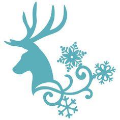 Silhouette Design Store: reindeer snow flourish